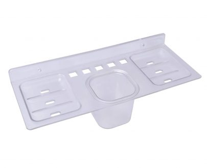 0756_ABS Plastic 4 in 1 Multipurpose Kitchen/Bathroom Shelf/Paste-Brush Stand/Soap Stand/Tumbler Holder/Bathroom Accessories - DeoDap