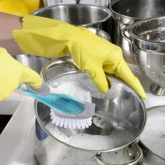 1271 Automatic Liquid Dispenser Dish Clean Brush Scrubber - DeoDap