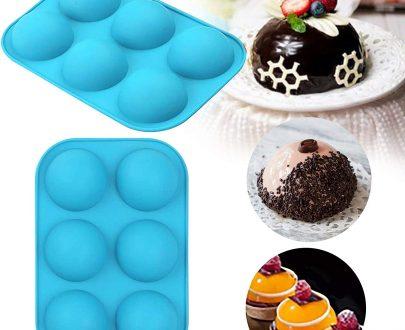 3306 Silicone 6-Cavity Half Circle Half Sphere Half Round Hemisphere Baking Mould Chocolate Desserts Ice Cream Bombs Soap (Random Colour) - DeoDap