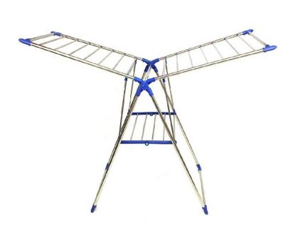 0731 Adjustable Stainless Steel 2-Wings Foldable Butterfly Cloth Drying Stand/Rack - DeoDap
