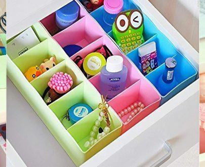 0236 5-Compartments Socks/Handkerchief/Underwear Storage Box Socks Drawer Closet Organizer Storage Boxes (pack of 4) - DeoDap