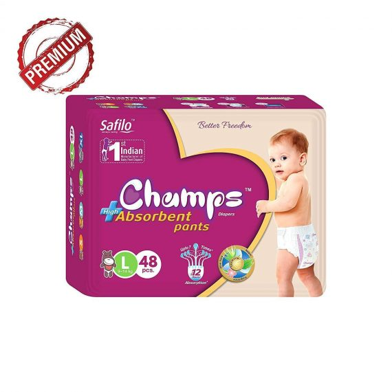 0955 Premium Champs High Absorbent Pant Style Diaper Large Size, 48 Pieces(955_Large_48) - DeoDap