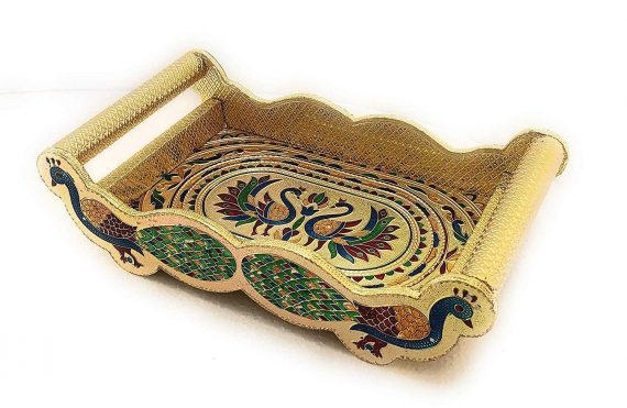 2125 Peacock Design Glass with Handle and Handicraft Serving Tray Set - DeoDap