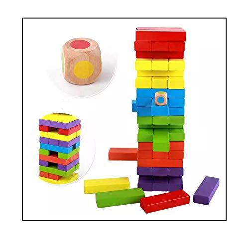 3902 Wooden Blocks, Colorful Wooden Tumbling Tower, Stacking and Balancing Block Toys with Dices for Kids & Adults (54 Pcs) - DeoDap