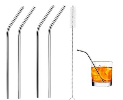 0581 Stainless Steel Straws & Brush (4 Bent straws, 1 Brush) -5pcs - DeoDap
