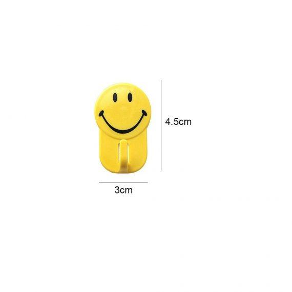 0604 Plastic Self-Adhesive Smiley Face Hooks, 1 Kg Load Capacity (6pcs) - DeoDap