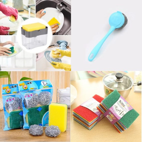 Cleaning Combo - (Soap Pump Dispenser, Cleaning Brush, Scrubber & Sponge, Color Scrubber Pad)