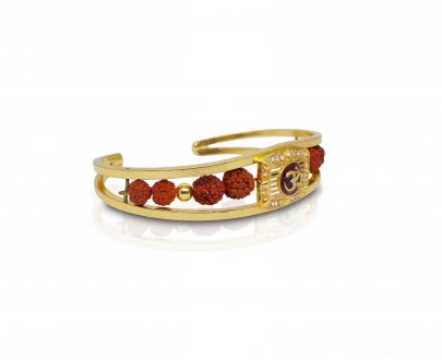 Periapt Gold Plated American Diamond Om Sun Cuff Bracelet /  Rudraksha Kada for Men - DeoDap