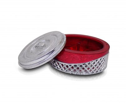 2089 Multipurpose Royal Design Round Silver Storage/Gift Box - DeoDap