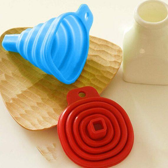 0826 Foldable Kitchen Collapsible Funnel for Water Bottle Liquid Transfer Food Grade Funnels Set (Big) - DeoDap