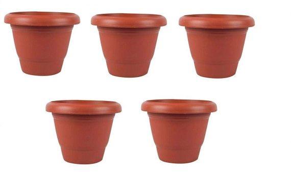 0822 Garden Heavy Plastic Planter Pot/Gamla  (Brown, Pack of 1) - DeoDap