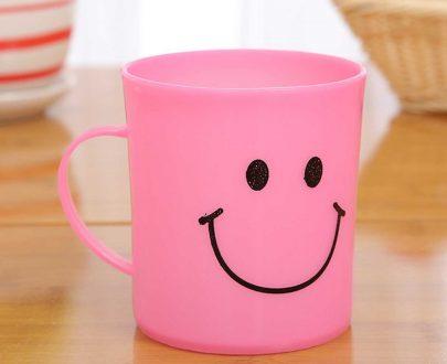 0744 Unbreakable Plastic Coffee-Milk Fancy Smiley Mug - DeoDap
