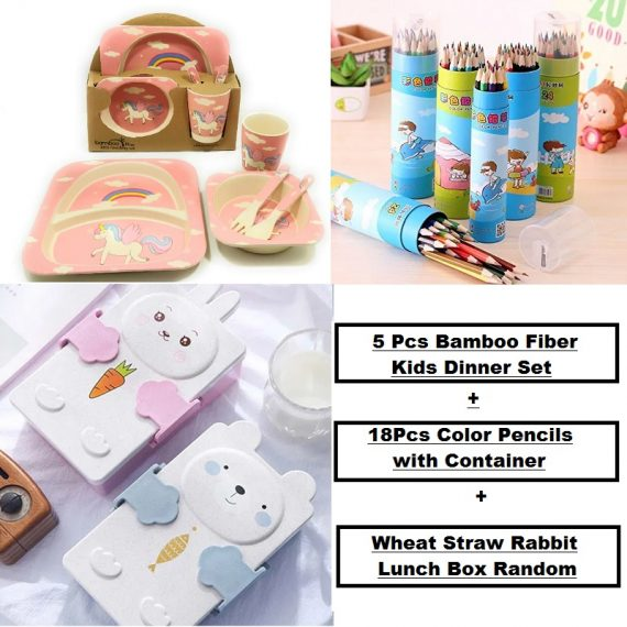 Happy Kids Combo - (18 Pcs Color Pencil, Wheat Straw Rabbit Lunch Box, 5 Pcs Kids Dinner Set)