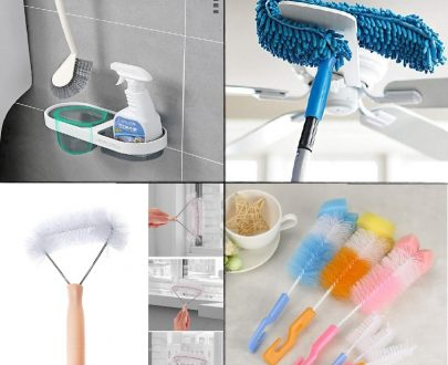 Home Utility Cleaning Brush Combo - 4 (Makoda Brush, Mosquito Net  Cleaner,  2 Pcs Bottle Brush, Fan Duster)