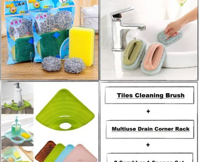 Home Utility Cleaning Combo - 10 (2 Scrubber 1 Sponge, Tiles Cleaning Brush, Drain Corner Rack)