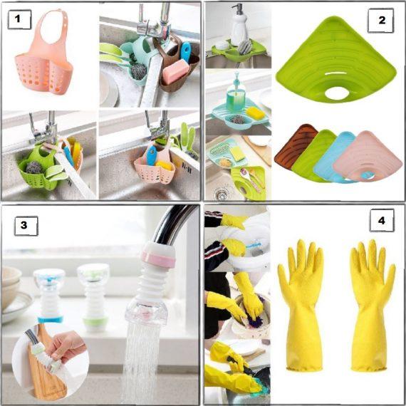 Home Utility Combo - 11 (Drain Corner Rack, Kitchen Sink Bag - 2 Pcs, Faucet Shower Head, Kitchen Gloves Yellow - 2 Pairs)