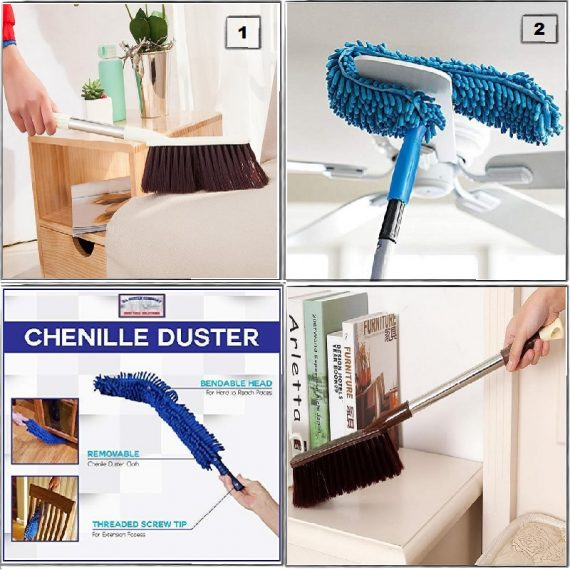 Home Utility Combo - 7 (Fan Duster &  Long Handle Cleaning Brush)