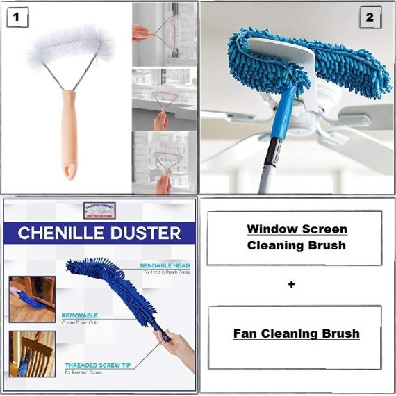 Home Utility Combo - 8 (Window Screen Cleaning Brush & Fan Duster)