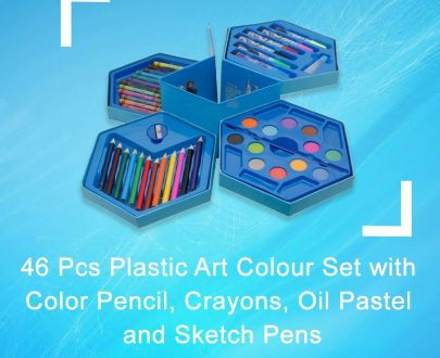 0859 46 Pcs Plastic Art Colour Set with Color Pencil, Crayons, Oil Pastel and Sketch Pens - DeoDap