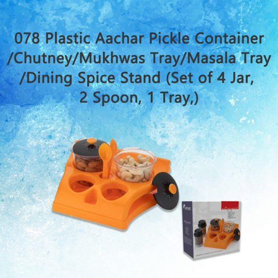 0078 Plastic Aachar Pickle Container/Chutney/Mukhwas Tray/Masala Tray/Dining Spice Stand (Set of 4 Jar, 2 Spoon, 1 Tray,) - DeoDap