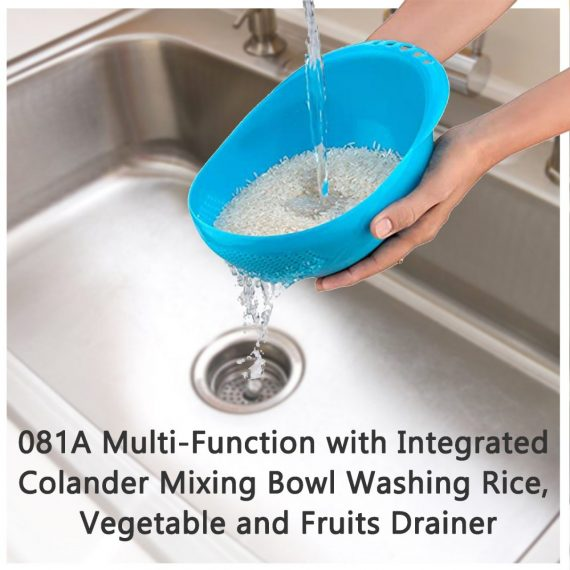 081A Multi-Function with Integrated Colander Mixing Bowl Washing Rice, Vegetable and Fruits Drainer Bowl-Size: 21x17x8.5cm - DeoDap