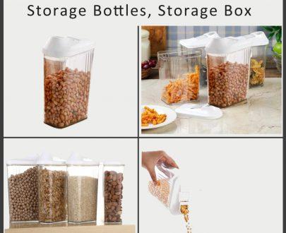 0150 Plastic Transparent Cans Jars, Storage Bottles, Storage Box (1700 ml, 1 pc) - DeoDap