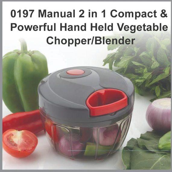 0197 Manual 2 in 1 Compact & Powerful Hand Held Vegetable Chopper/Blender - DeoDap