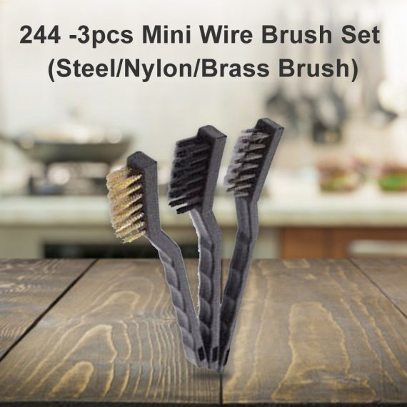 0244 -3pcs Mini Wire Brush Set (Steel/Nylon/Brass Brush) - DeoDap