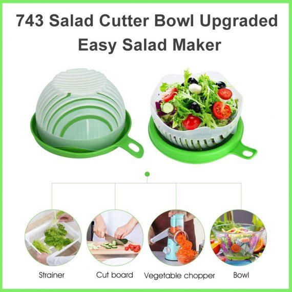 0743 Salad Cutter Bowl Upgraded Easy Salad Maker, Fast Fruit Vegetable Salad Chopper Bowl Fresh Salad Slicer - DeoDap