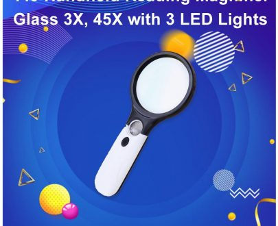 0449 Handheld Reading Magnifier Glass 3X, 45X with 3 LED Lights for Reading/Maps/Watch Repair - DeoDap