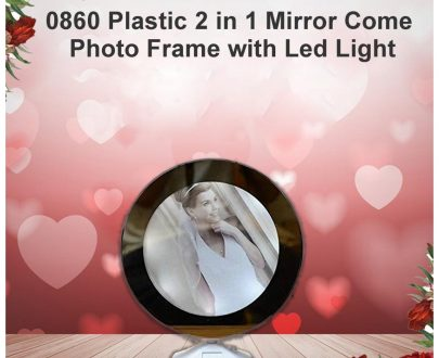 0860 Plastic 2 in 1 Mirror Come Photo Frame with Led Light - DeoDap