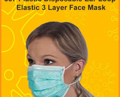 0387 Plastic Disposable Ear Loop Elastic 3 Layer Face Mask (Blue) - DeoDap