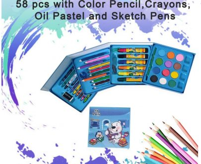 0858 Plastic Art Colour Set 58 pcs with Color Pencil, Crayons, Oil Pastel and Sketch Pens - DeoDap