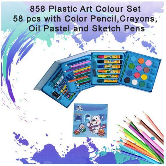 0858 Plastic Art Colour Set 58 pcs with Color Pencil, Crayons, Oil Pastel and Sketch Pens - DeoDap