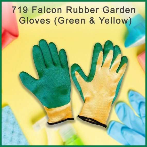 0719 Falcon Rubber Garden Gloves (Green & Yellow) - DeoDap