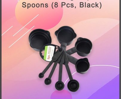 0106 Plastic Measuring Cups and Spoons (8 Pcs, Black) - DeoDap