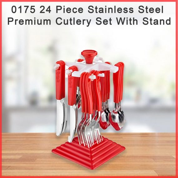 0175 24 Piece Stainless Steel Premium Cutlery Set With Stand - DeoDap