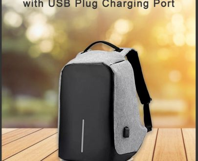 1208 Smart Grey Laptop Backpack with USB Plug Charging Port - DeoDap