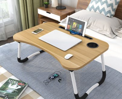 Portable folding bed Laptop table ( Light Brown )