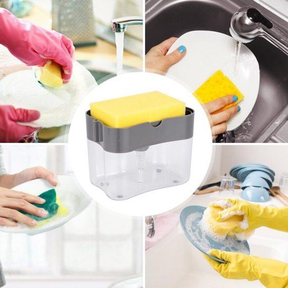 Liquid Soap Pump Dispenser With Sponge Holder (Pack Of 3 Pcs)