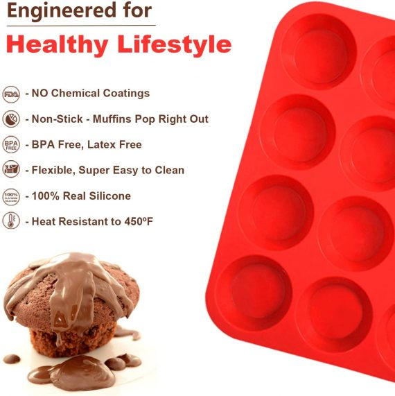3316 Silicone Cupcake Muffin Mould Microwave Safe Nonstick 12 Cups Muffin Pan Chocolate Baking Tray for House and Bakery  25.6x19.1 inch (Multicolor) - DeoDap