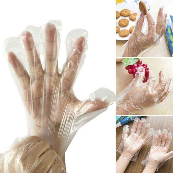 0670 Plastic Transparent Disposable Clear Gloves (White) (100Pc) - DeoDap