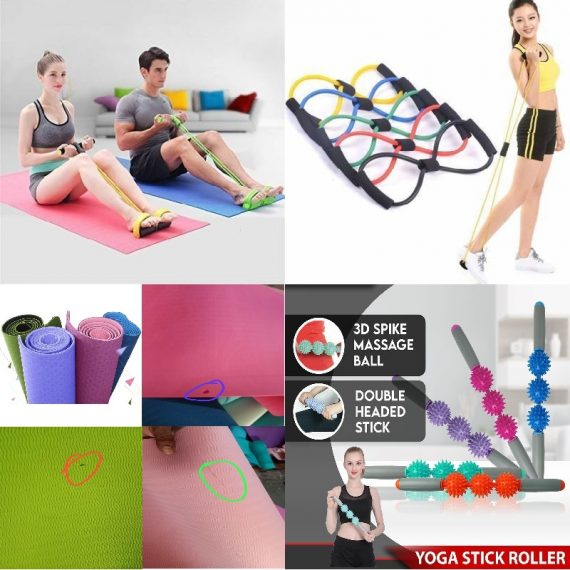 Yoga Combo - (Yoga Roller Stick, Tummy Trimmer, Chest Expand, Minor Damage Yoga Mat)