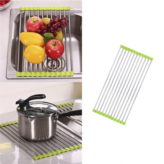2064 Over the Sink Multipurpose Roll-Up Foldable Dish Drying Rack - DeoDap