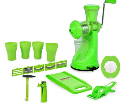 2042 Kitchen Combo - Juicer, 6 in 1 Slicer, Vegetable Cutter, Corn Cutter, Spiral Cutter, 4 in 1 Peeler, Orange Peeler, Apple Cutter and 4pc Glasses - DeoDap