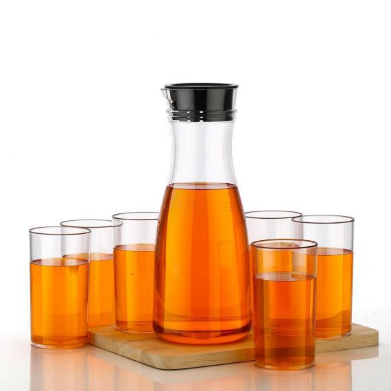 0076_Transparent Unbreakable Water Juicy Jug and 6 Pcs. Glass Combo Set for Dining Table Office Restaurant Pitcher - DeoDap