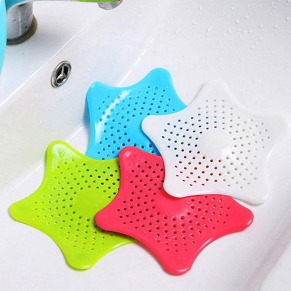 0829 Silicone Star Shaped Sink Filter Bathroom Hair Catcher Drain Strainers for Basin - DeoDap