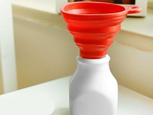 0828 Flexible Silicone Foldable Kitchen Funnel for Liquid/Powder Transfer Hopper Food (Small) - DeoDap