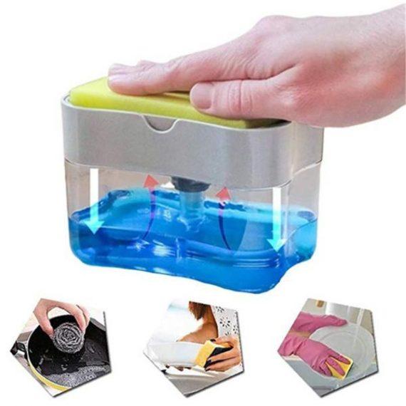 1264 2-in-1 Liquid Soap Dispenser on Countertop with Sponge Holder - DeoDap