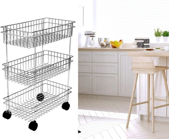 2107 3Layer Floor-Standing Multi-Purpose Storage Organiser Rack Cart with Wheels - DeoDap